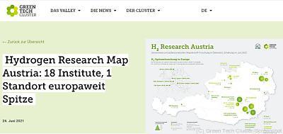 18 Forschungsinstitutionen widmen sich der Wasserstoffforschung  - Wien, Green Tech Cluster/Screenshot
