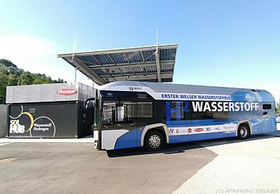 Der Welser Wasserstoff-Bus  - Thalheim, APA/HEINZ ZIEGLER