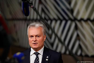 Litauens Präsident Gitanas Nauseda  - Brussels, APA/AFP/POOL