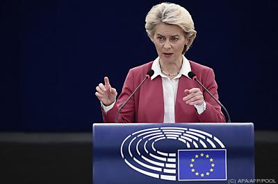 Kommissionspräsidentin Ursula von der Leyen  - Strasbourg, APA/AFP/POOL